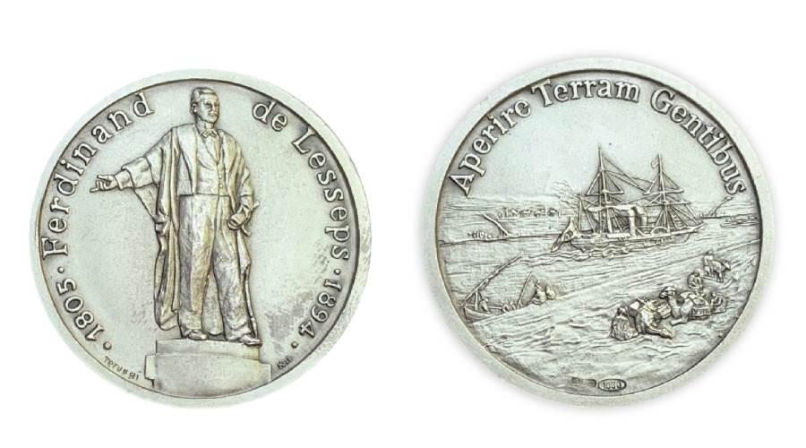 ميدالية فرنسية 1994 تخليدا لذكرى 100 عام على وفاة ديليسبس والوجه الآخر مشهد لقناة السويس القديمة