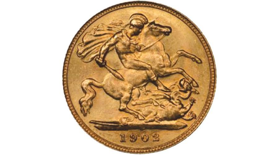 جنيه ذهب تذكارى سك فى المملكة المتحدة 1902