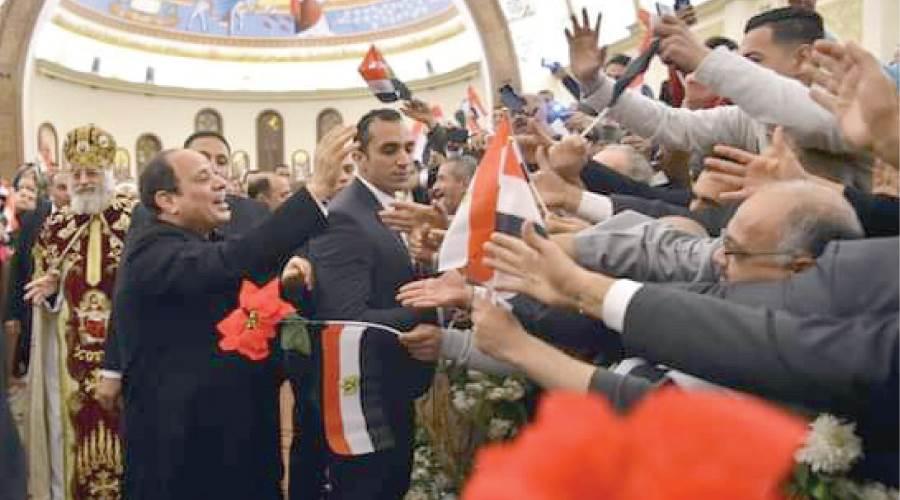 الرئيس السيسى يشارك المواطنين فى احتفالات أعياد الميلاد